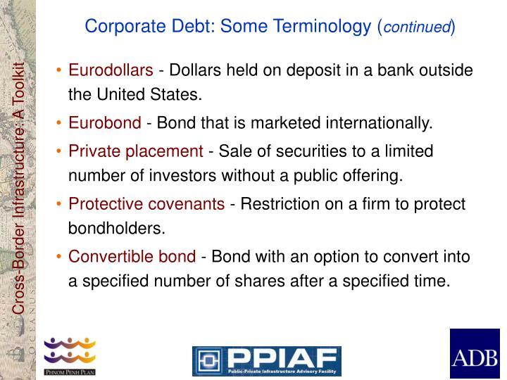 Corporate Debt: Some Terminology (