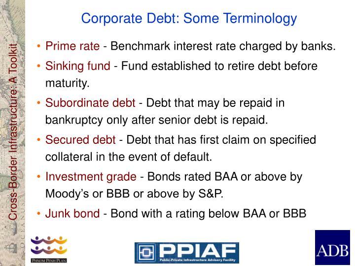Corporate Debt: Some Terminology