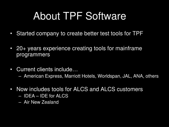 About tpf software