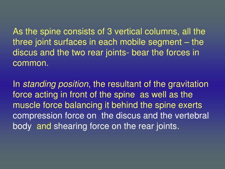 As the spine consists of 3 vertical columns, all the three joint surfaces in each mobile segment – the discus and the two rear joints- bear the forces in common.