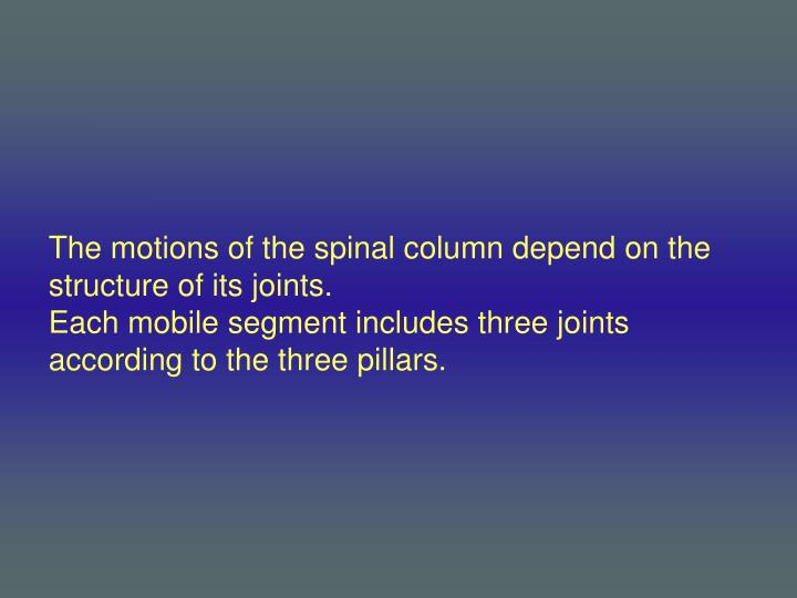 The motions of the spinal column depend on the structure of its joints.