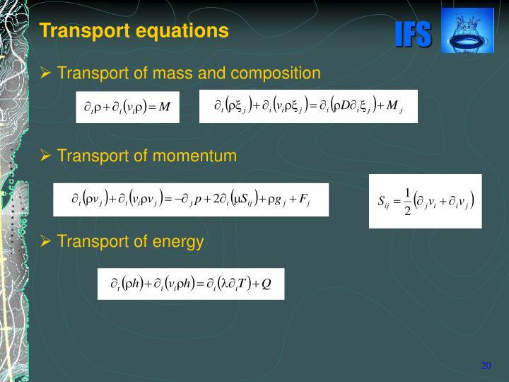Transport equations