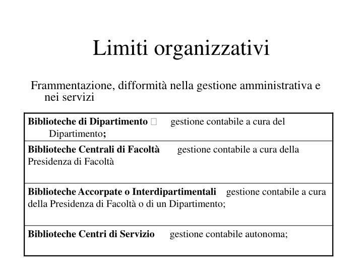 Limiti organizzativi
