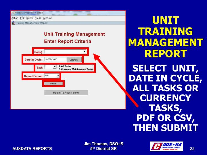 UNIT TRAINING MANAGEMENTREPORT
