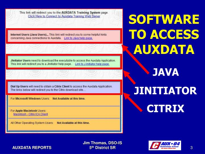 SOFTWARE TO ACCESS AUXDATA