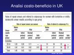 analisi costo beneficio in uk