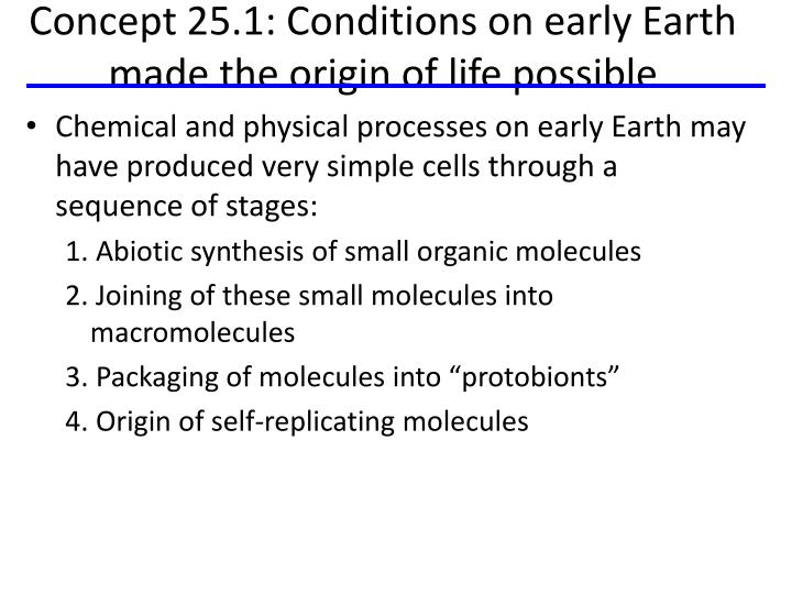 Concept 25.1: Conditions on early Earth made the origin of life possible
