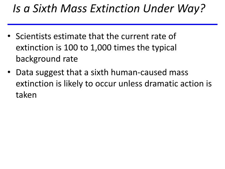 Is a Sixth Mass Extinction Under Way?