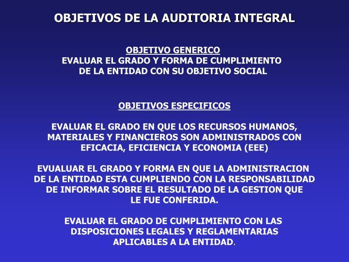 OBJETIVOS DE LA AUDITORIA INTEGRAL