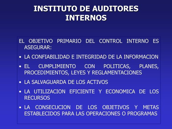 INSTITUTO DE AUDITORES INTERNOS