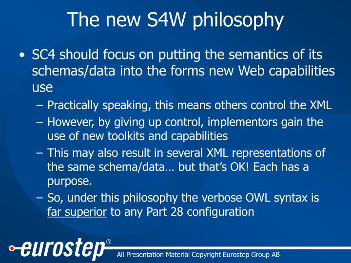 The new s4w philosophy