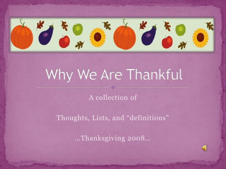 why we are thankful n.