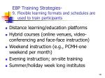 ebp training strategies 9 flexible learning formats and schedules are used to train participants