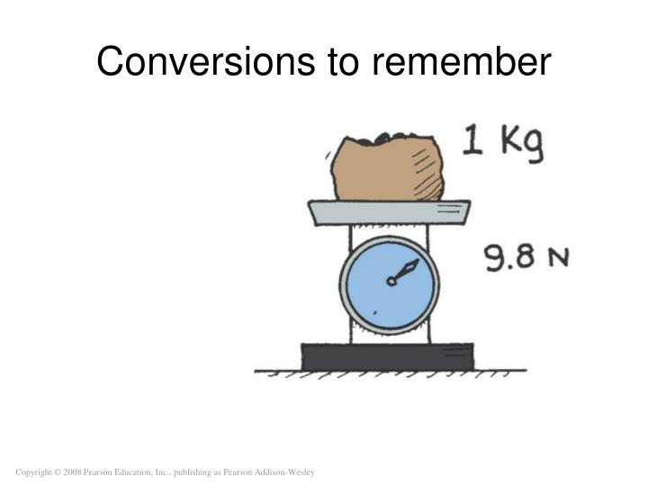 Conversions to remember