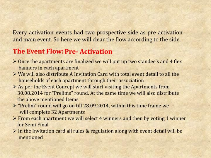 Every activation events had two prospective side as pre activation and main event. So here we will clear the flow according to the side.