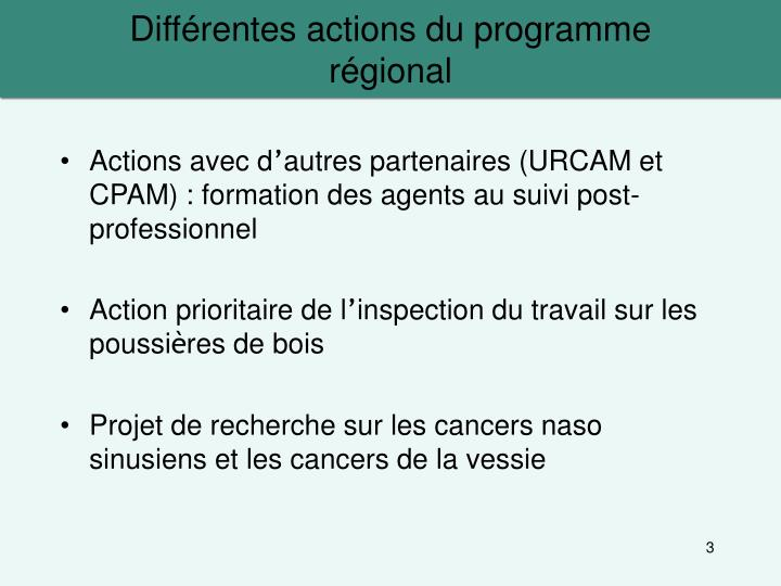 Diff rentes actions du programme r gional