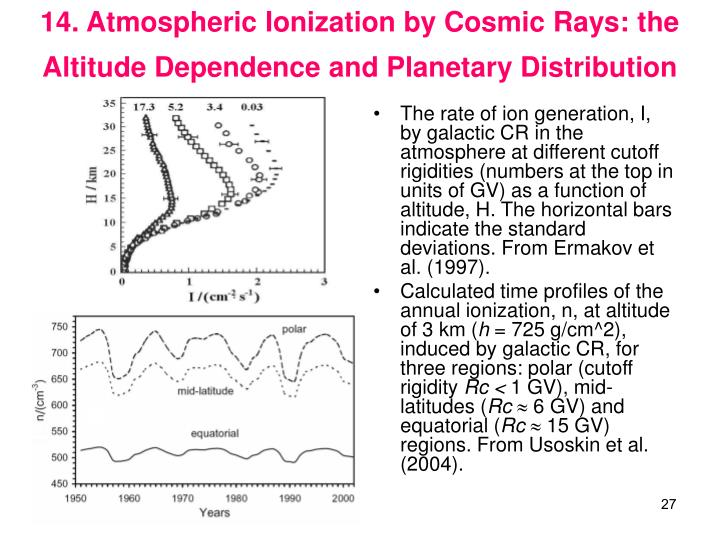 14. Atmospheric Ionization by Cosmic Rays: the Altitude Dependence and Planetary Distribution