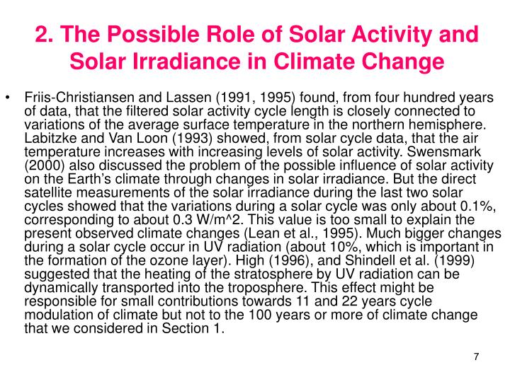 2. The Possible Role of Solar Activity and Solar Irradiance in Climate Change
