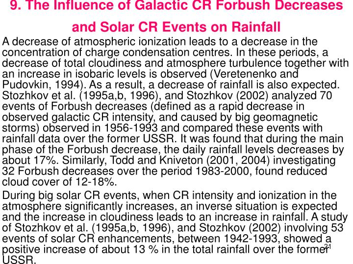9. The Influence of Galactic CR Forbush Decreases and Solar CR Events on Rainfall