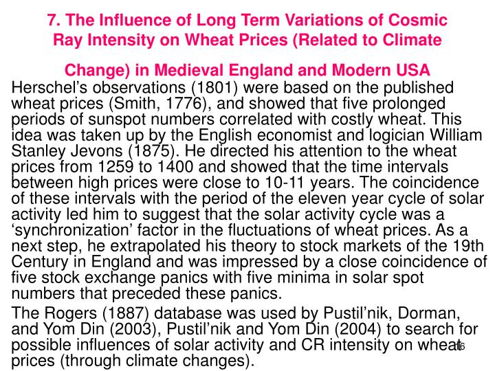 7. The Influence of Long Term Variations of Cosmic Ray Intensity on Wheat Prices (Related to Climate Change) in Medieval England and Modern USA