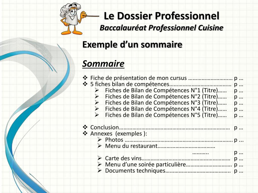 Ppt le dossier professionnel baccalaur at professionnel - Fiche bilan de competences bac pro cuisine ...