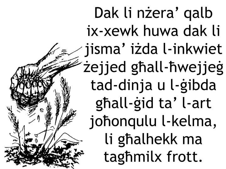 Dak li nżera' qalb ix-xewk huwa dak li jisma' iżda l-inkwiet żejjed għall-ħwejjeġ tad-dinja u l-ġibda għall-ġid ta' l-art joħonqulu l-kelma, li għalhekk ma tagħmilx frott.