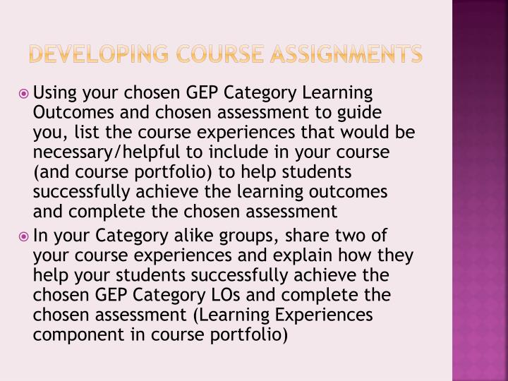 Developing Course Assignments