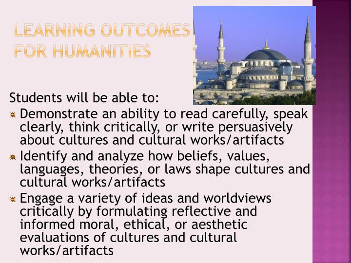 Learning Outcomes for Humanities