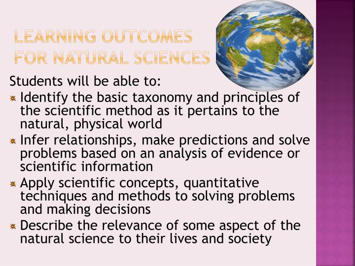 Learning Outcomes for Natural Sciences