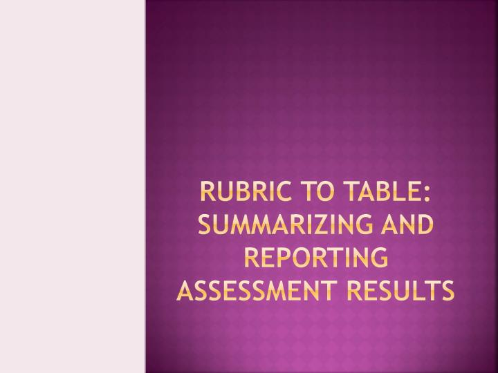 Rubric to Table: Summarizing and Reporting  Assessment Results