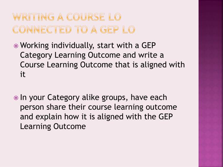 Writing a course LO