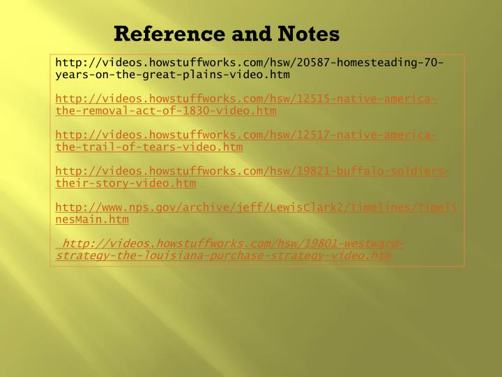 Reference and Notes