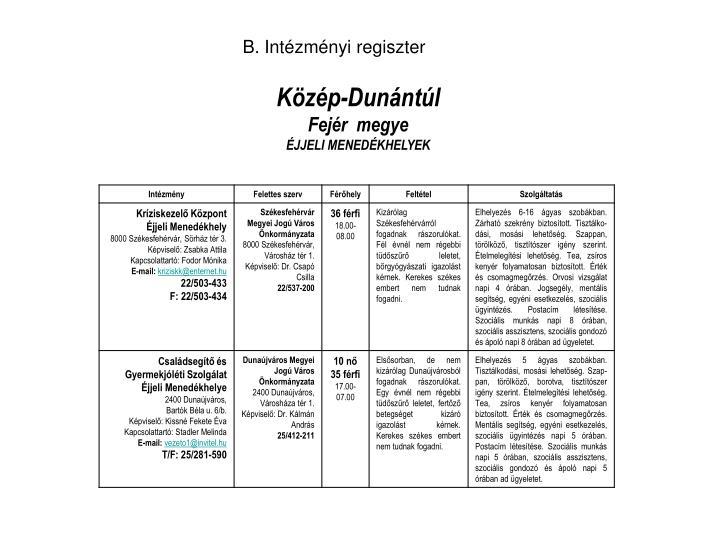 B. Intézményi regiszter