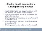 sharing health information linking existing sources