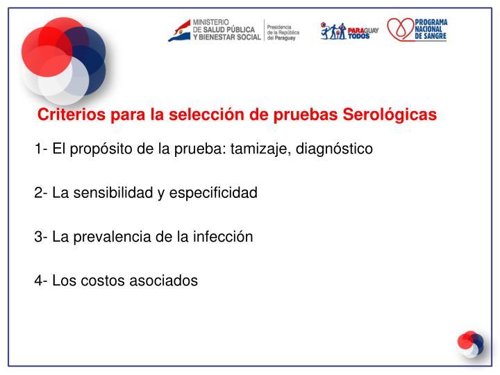 Criterios para la selección de pruebas Serológicas