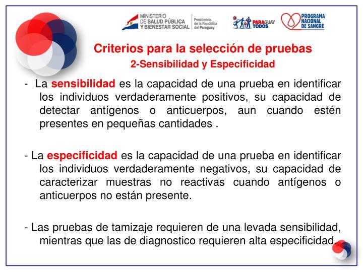 Criterios para la selección de pruebas