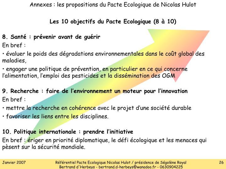 Annexes : les propositions du Pacte Ecologique de Nicolas Hulot