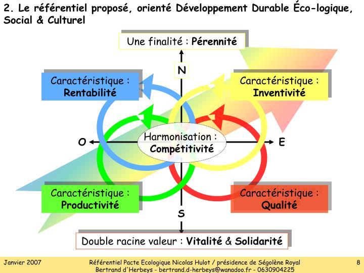 2. Le référentiel proposé, orienté Développement Durable
