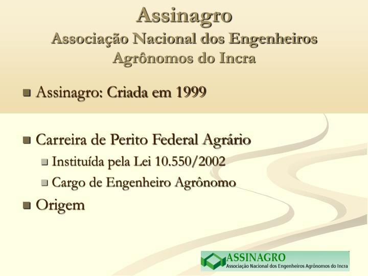 Assinagro associa o nacional dos engenheiros agr nomos do incra