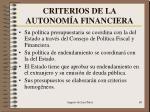criterios de la autonom a financiera