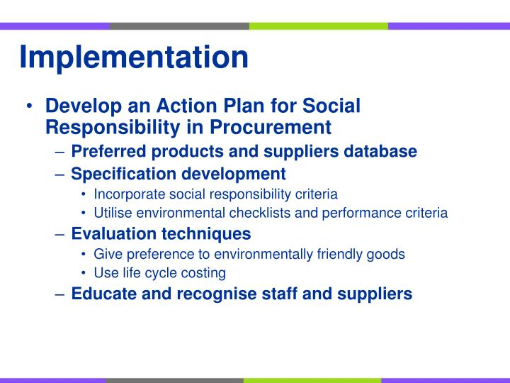 Develop an Action Plan for Social Responsibility in Procurement