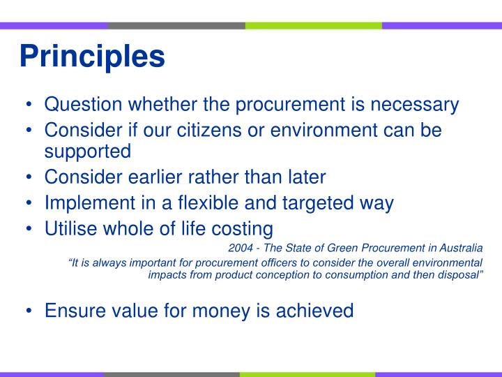 Question whether the procurement is necessary