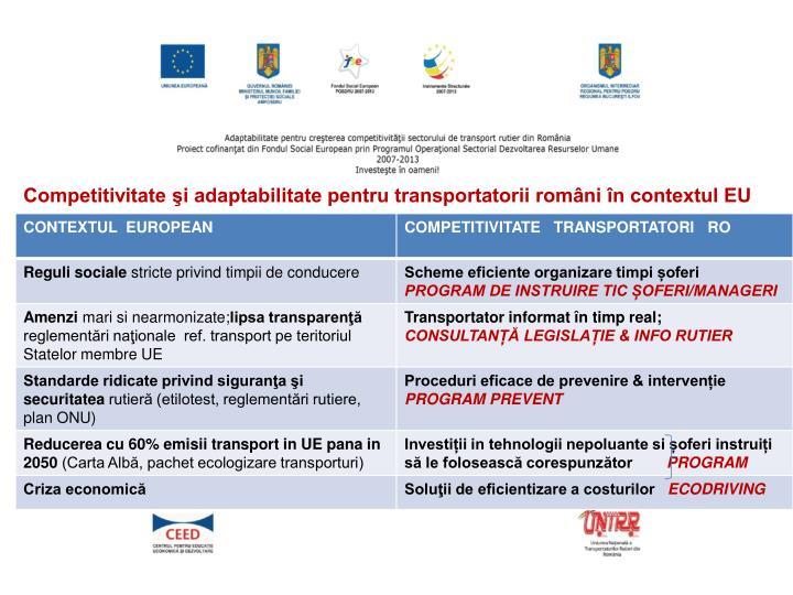 Competitivitate şi adaptabilitate pentru transportatorii români în contextul EU european