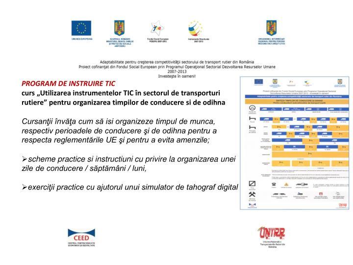 PROGRAM DE INSTRUIRE TIC