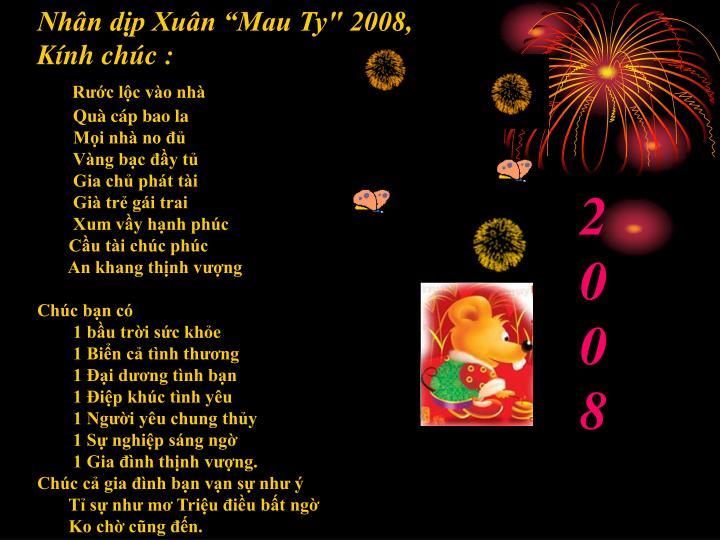 """Nhân dịp Xuân """"Mau Ty"""" 2008, Kínhchúc:"""
