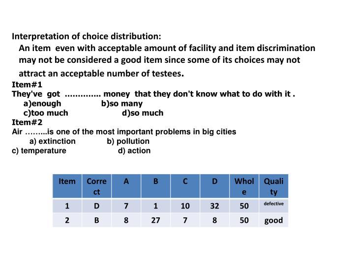 Interpretation of choice distribution: