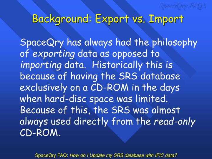 Background export vs import