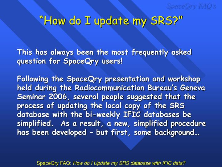 How do i update my srs