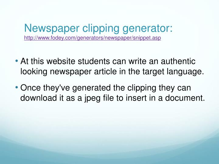 Newspaper clipping generator: