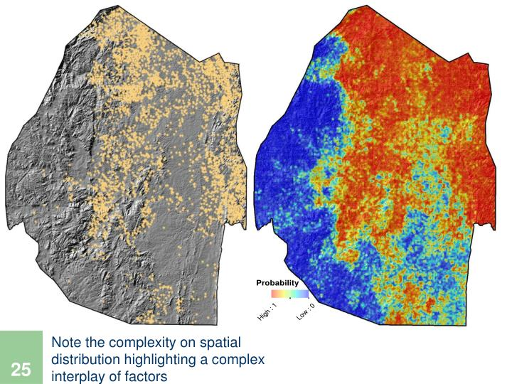 Note the complexity on spatial distribution highlighting a complex interplay of factors